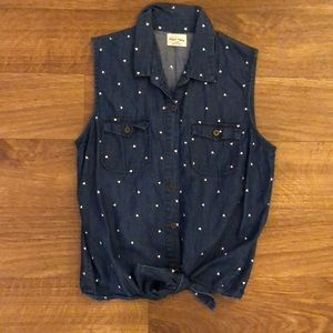 Pacsun denim sleeveless top with white hearts